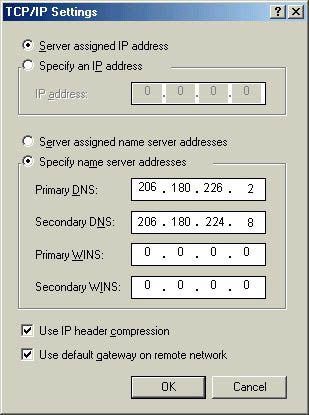 ME Dial UP setting TCP/IP window